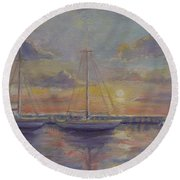 Asleep At The Marina Round Beach Towel