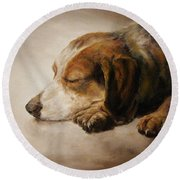 Asleep Round Beach Towel