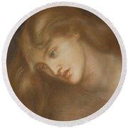 Aspecta Medusa Round Beach Towel by Dante Charles Gabriel Rossetti