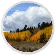 Aspen Hillside Round Beach Towel