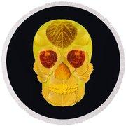 Aspen Leaf Skull 1 Black Round Beach Towel