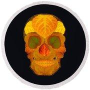 Aspen Leaf Skull 2 Black Round Beach Towel