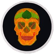 Aspen Leaf Skull 3 Black Round Beach Towel