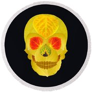 Aspen Leaf Skull 4 Black Round Beach Towel