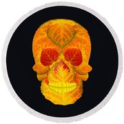 Aspen Leaf Skull 6 Black Round Beach Towel