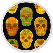 Aspen Leaf Skulls Poster 2014 Black Round Beach Towel