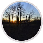 Aspen Prairie Sunset Round Beach Towel