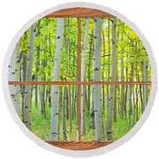 Aspen Tree Forest Autumn Picture Window Frame View  Round Beach Towel