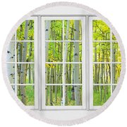 Aspen Tree Forest Autumn Time White Window View  Round Beach Towel by James BO  Insogna