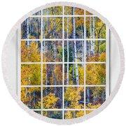 Aspen Tree Magic Cottonwood Pass White Window Portrait View Round Beach Towel by James BO  Insogna