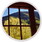 Aspen Window 2 Round Beach Towel