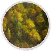 Aspens And Cattails Round Beach Towel