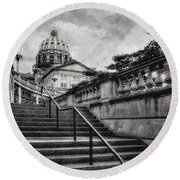 Aspirations In Black And White Round Beach Towel
