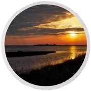 Assateague Sunrise Vertical Round Beach Towel