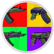 Assault Rifle Pop Art Four - 20130120 Round Beach Towel