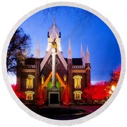 Assembly Hall Slc Temple Round Beach Towel