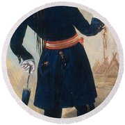 Assiniboine Warrior In Regimental Round Beach Towel