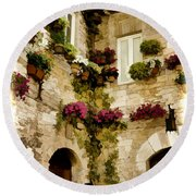 Assisi Courtyard Round Beach Towel