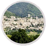 Assisi Italy - Medieval Hilltop City Round Beach Towel