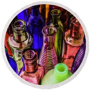 Assorted Colored Bottles Round Beach Towel