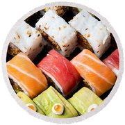 Assortment Of Sushi Round Beach Towel