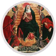 Assumption Of Mary With Sts Minias And Julian Round Beach Towel