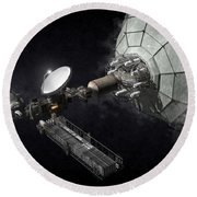 Asteroid Mining And Processing Round Beach Towel