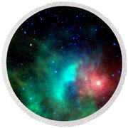 Asteroid Zips By Orion Nebula Round Beach Towel