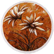 Asters 007 Round Beach Towel