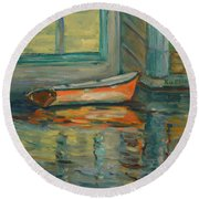 At Boat House 2 Round Beach Towel