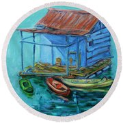 At Boat House Round Beach Towel
