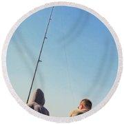 At Fishing Round Beach Towel