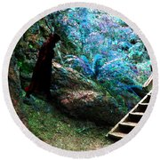 At Home In Her Forest Keep - Pacific Northwest Round Beach Towel