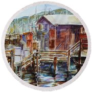 At Monterey Wharf Ca Round Beach Towel