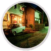 At Night In Thuringia Village Germany Round Beach Towel