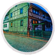 At Night In Thuringia Village Germay Round Beach Towel