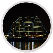 At Night On The  Delaware River - The Mushulu Round Beach Towel