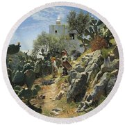 At Noon On A Cactus Plantation In Capri Round Beach Towel
