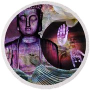 At Peace Round Beach Towel by M Montoya Alicea