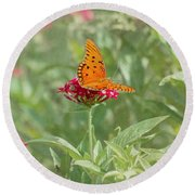 At Rest - Gulf Fritillary Butterfly Round Beach Towel