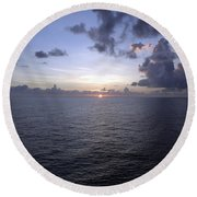 At Sea -- A Sunrise Begins Round Beach Towel