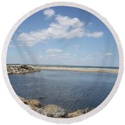 At The Bay  Round Beach Towel