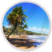 At The Beach Palmas Del Mar Round Beach Towel