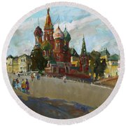 At The Cathedral Of Vasily The Blessed Round Beach Towel
