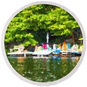 At The Cottage Dock Round Beach Towel