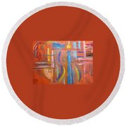 At The Crossroads Round Beach Towel