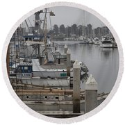At The Dock Round Beach Towel by Amanda Barcon