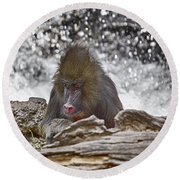 At The Edge Of The Waterfall Round Beach Towel
