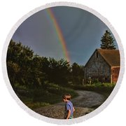 At The End Of A Rainbow Round Beach Towel