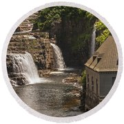 At The Falls In Ausable Ny Round Beach Towel